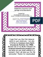 Freebie Kindergarten Common Core Standards Posters