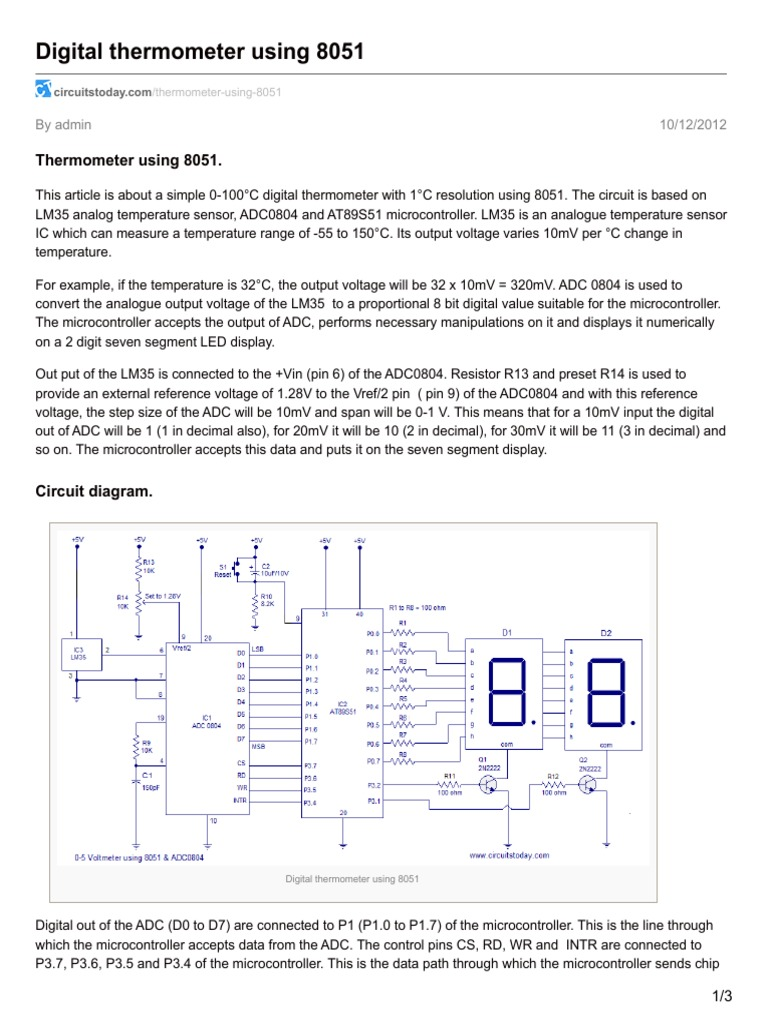 Circuitstodaycom Digital Thermometer Using 8051pdf Analog To Voltmeter 8051 Microcontroller Circuit Diagram Converter