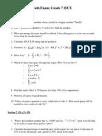 Math Exam 3 - Grade 7 ISCE