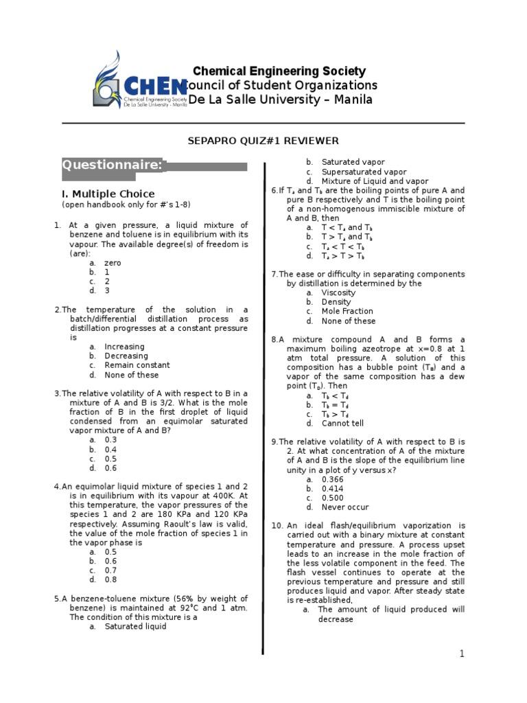 Sepapro - Quiz 1 | Distillation | Materials