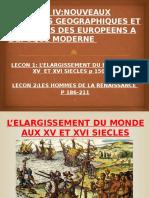 L'ELARGISSEMENT DU MONDE AUX XV ET XVI SIECLES