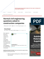 Normal Civil Engineering Questions Asked in Construction Companies