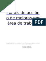 Planes de Acción o de Mejoras Por Área de Trabajo