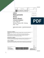 EdExcel a Level Biology Unit 3 Paper 1 Jan 2009