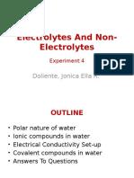 Electrolytes and Non Electrolytes