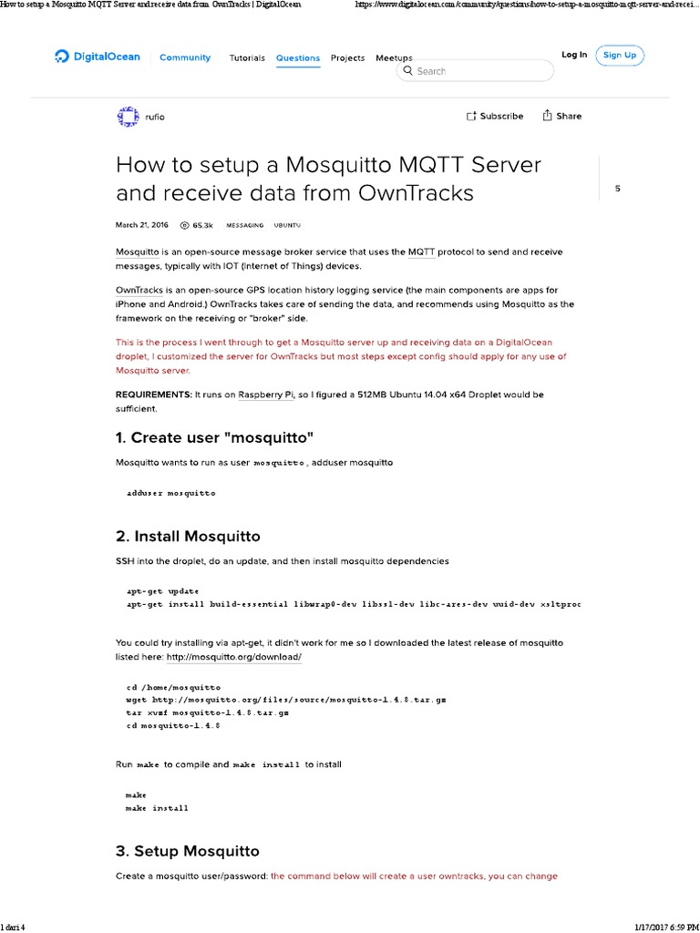 How to Setup a Mosquitto MQTT Server Digitalocean