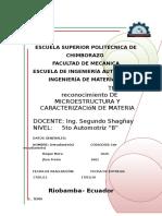 Reconocimiento de Microestructura y Caracterizacion de La Materia