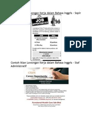 Contoh Iklan Lowongan Kerja Dalam Bahasa Inggris