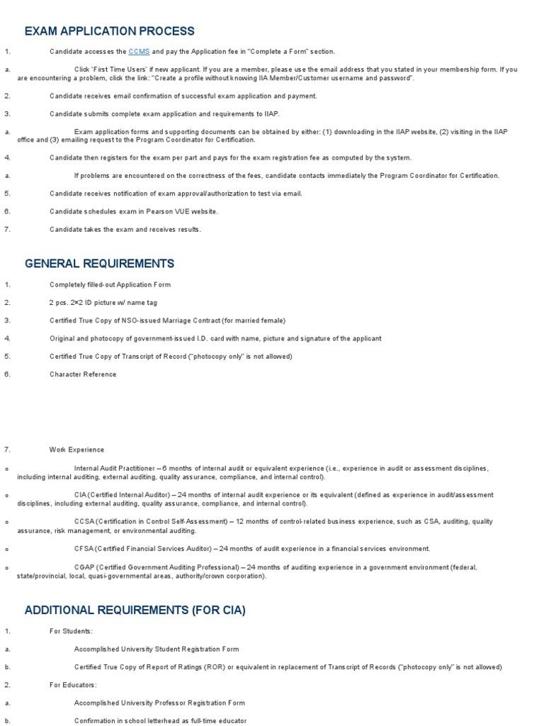 CIA Exam Application Process | Audit | Identity Document