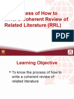 8 the Process of How to Write a Coherent Review of Related Literature