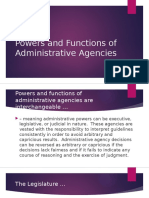 Powers and Functions of Administrative Agencies