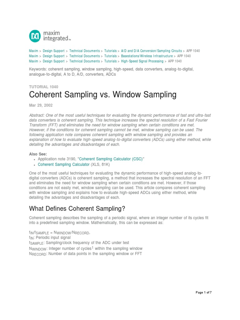 Coherent Sampling AN1040 | Spectral Density | Sampling (Signal