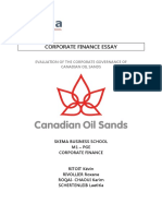 Evaluation of the Corporate Governance of Canadian Oil Sands