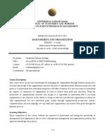 Management and Organization - Matriculation Program
