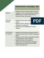 Penutupan Administrasi, Keuangan & Kontrak