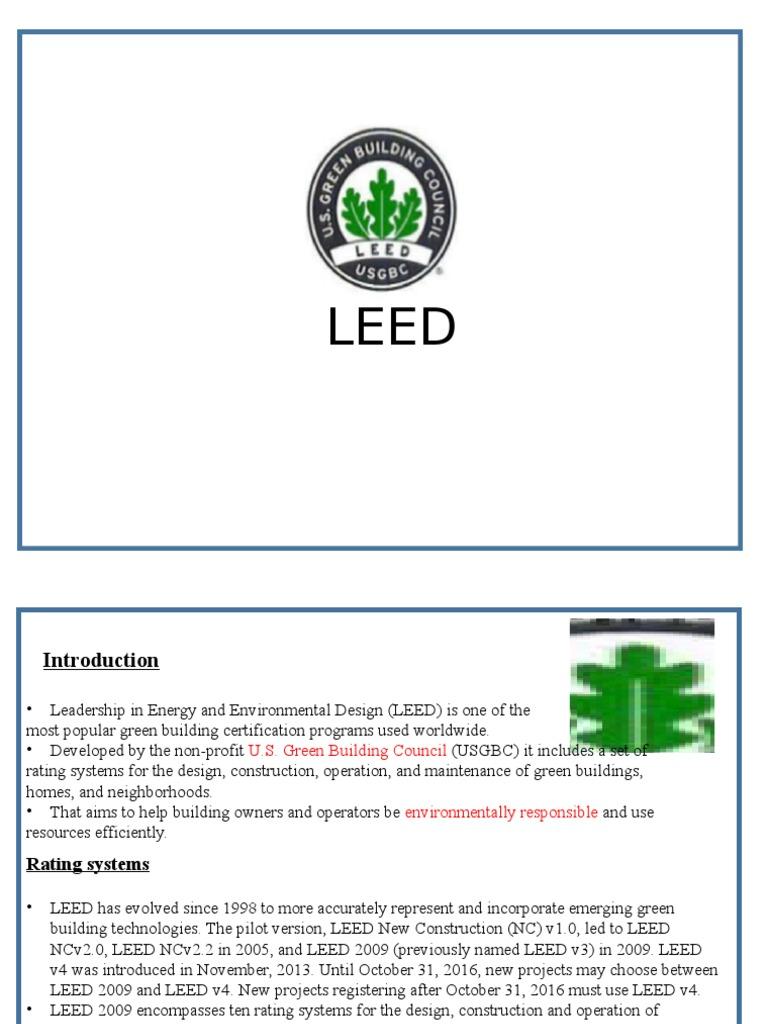 Leedpptx Leadership In Energy And Environmental Design Green