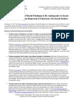 Oppose Friedman Nomination as Ambassador to Israel