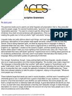 Prescriptive vs Descriptive