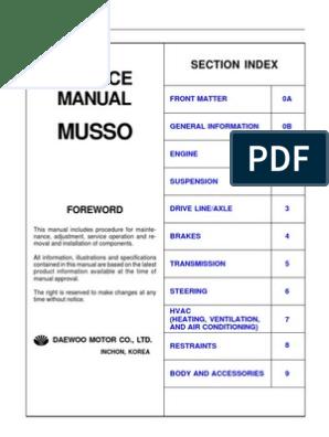 service manual musso motor oil manual transmission GMC Fuse Box Diagrams