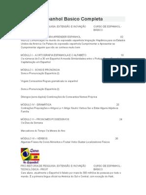 PARA ESPANHOL APOSTILA BAIXAR DE INICIANTES
