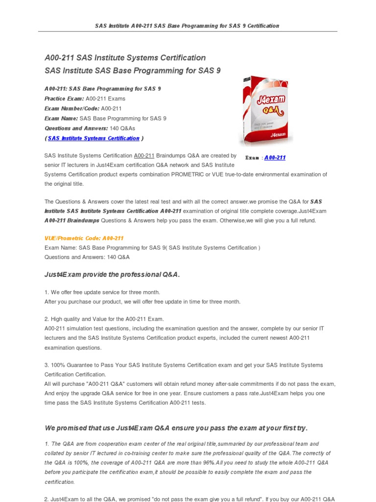 A00 211 Sas Software Certification