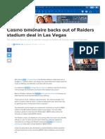 Casino billionaire backs out of Raiders stadium deal