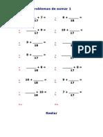 Problemas de Sumar 1 Y sopa de letras 4° primaria