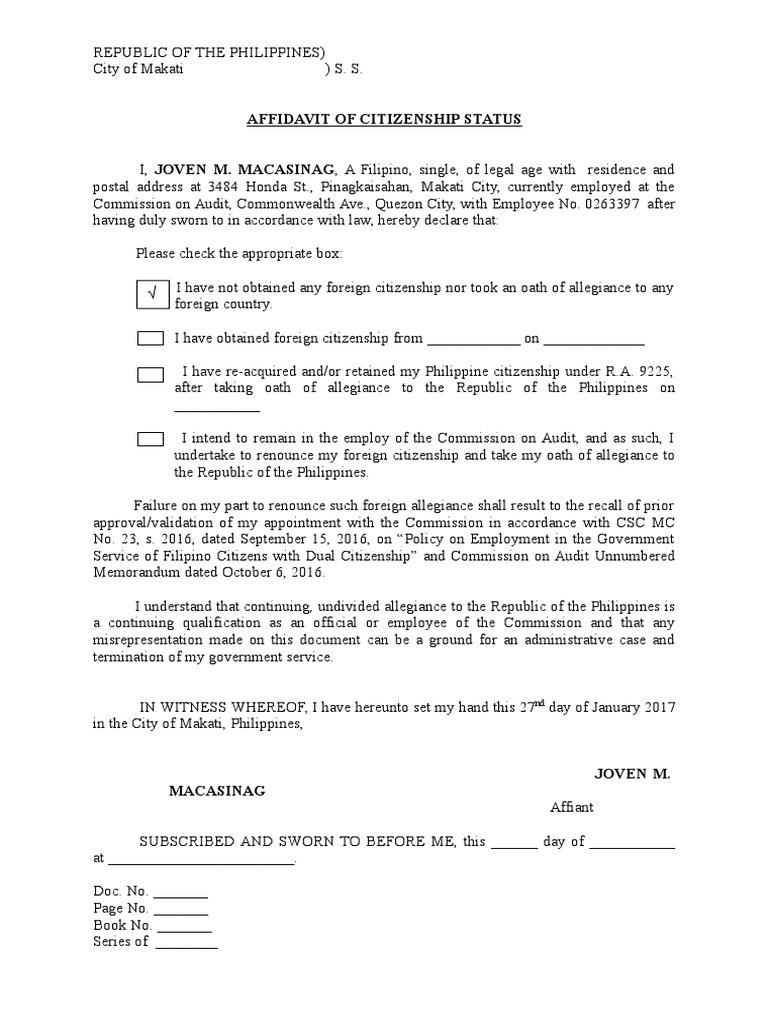 Affidavit of Citizenship Status