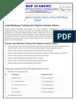 trainingk3l.com - Training Hygiene Industri Utama (HIU)
