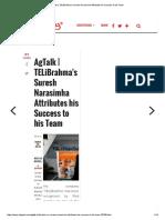 AgTalk _ TELiBrahma's Suresh Narasimha Attributes His Success to His Team