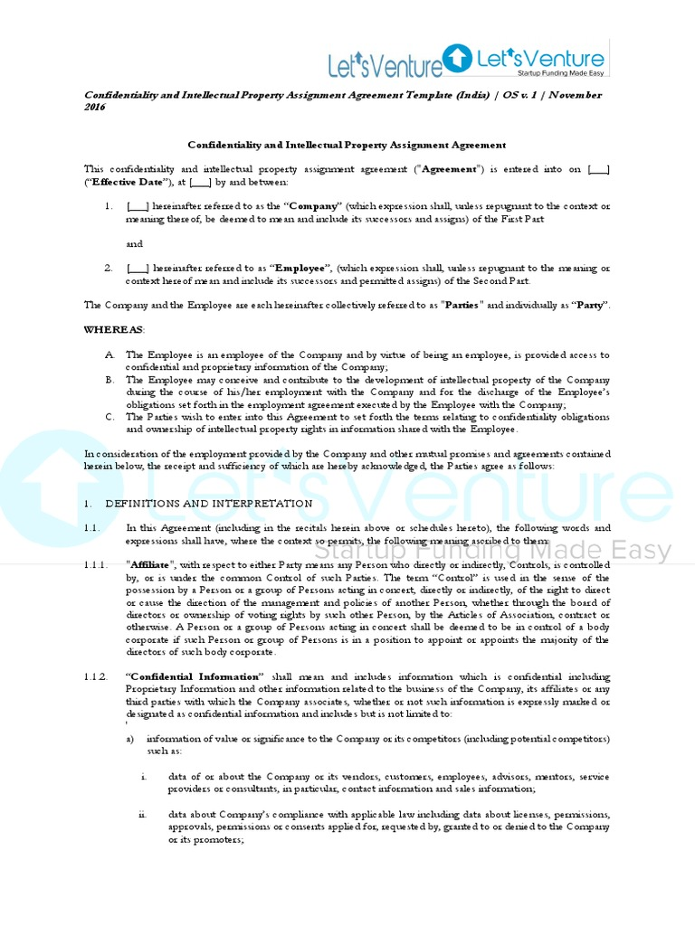 Confidentiality Ip Assignment Agreement Indemnity Trade Secret