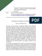 Church Autonomy in Europe - Gerhard Robbers