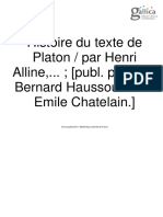 Histoire Du Texte Platon