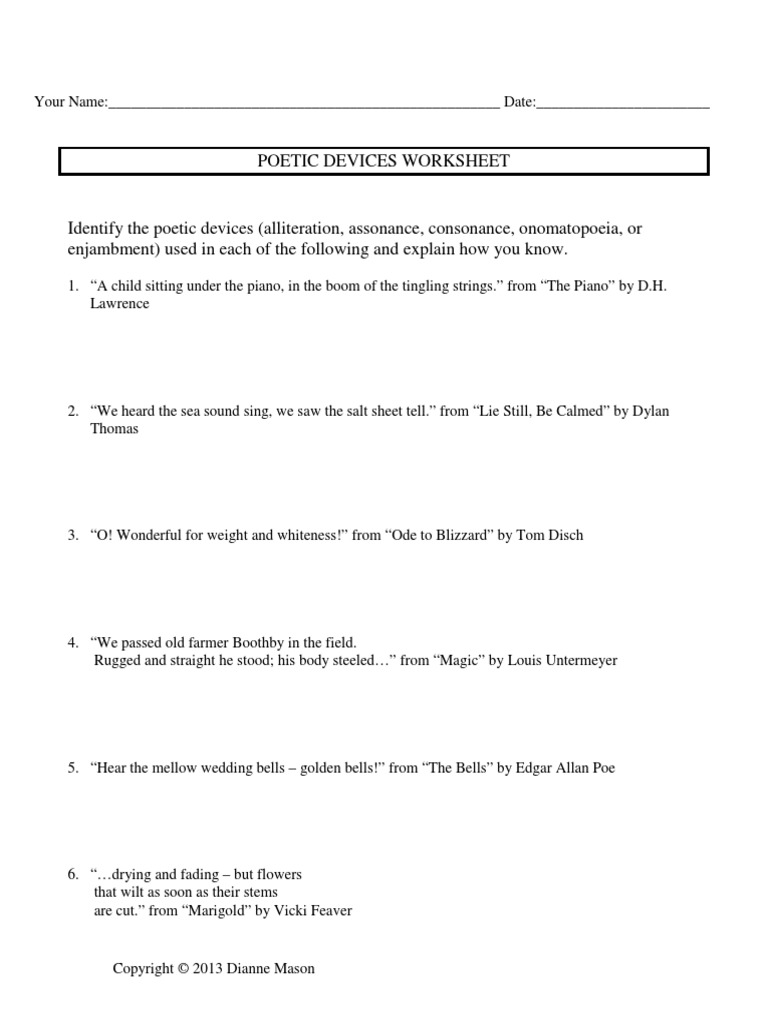 worksheet Identifying Poetic Devices Worksheet worksheet literary devices thedanks for everyone 1525780290v1