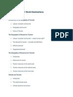 Characteristics of World Destination1