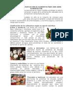 Nutrición y Clasificación de Alimentos Para Una Sana Alimentación