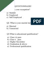 Hunar Se Rozgar Tak (Questionnaire)
