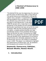 Decades or Revival of Democracy in Pakistan 1988-1998