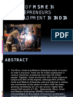 Role of MSME in Entrepreneurs Development in India