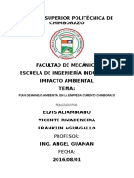 Plan de manejo ambiental del cemento