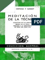 Ortega y Gasset - Meditación de la técnica