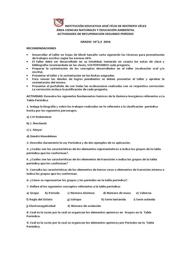 Taller de recuperacion quimica 2do p 10 2016 urtaz Image collections