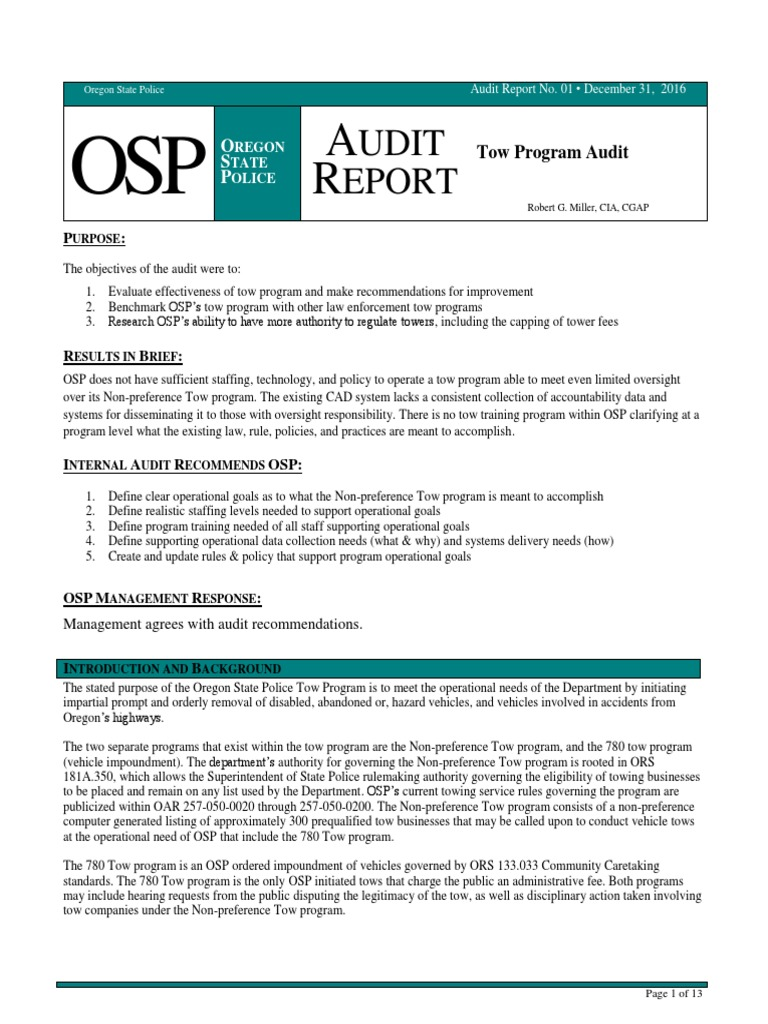 Oregon State Police Non-preference Tow Program Audit | United States