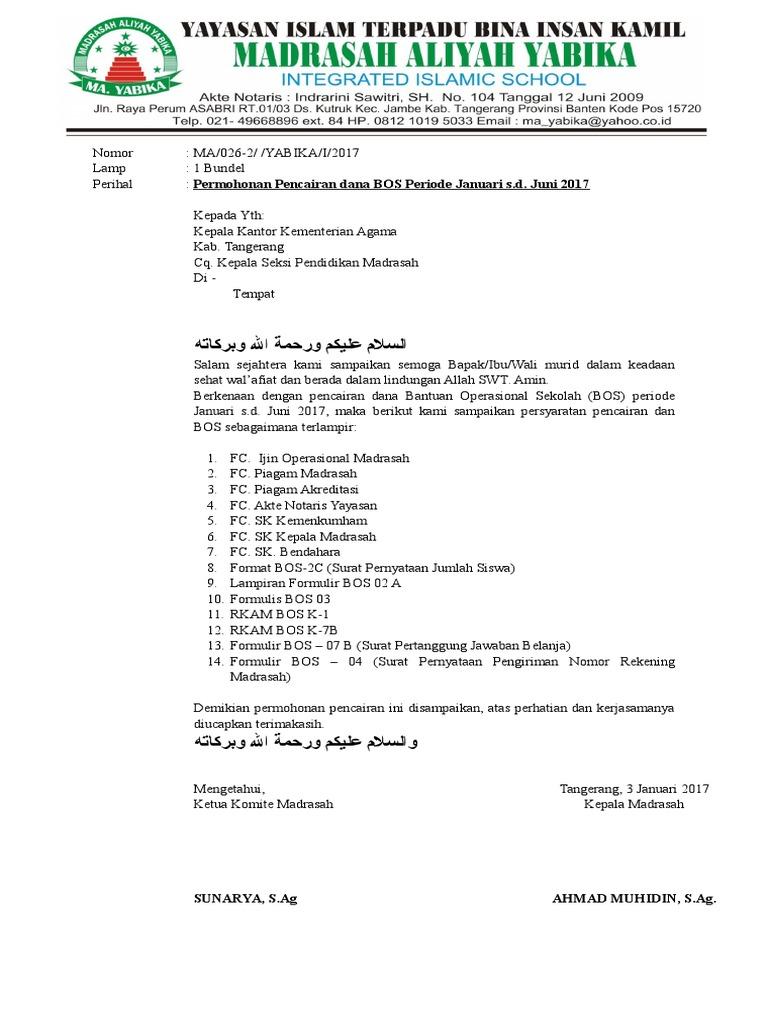 Surat Permohonan Bos