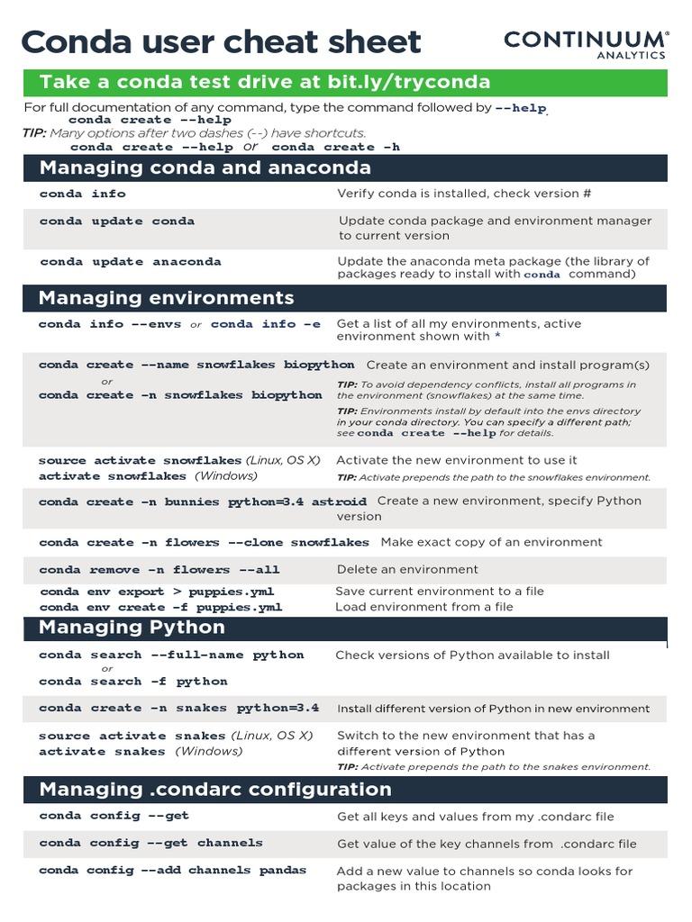 conda-cheatsheet pdf   Python (Programming Language