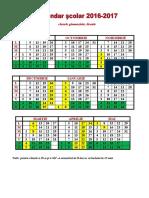 Calendar Şcolar 2016-2017 Clasele Gimnaziale, Liceale