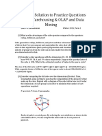 Data Warehousing, OLAP, Data Mining Practice Questions Solutions