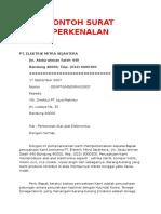 Contoh Surat Perkenalan