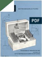 Boley Betriebsanleitung Triebnietmaschine und Steinpressvorrichtung