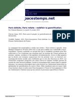 Paris Defaite Paris Refaite Redefinir La Gentrification